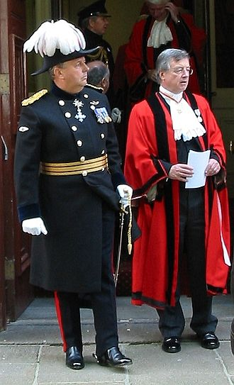 Andrew Ridgway - Lt Gen. Sir Andrew Ridgway (left) fulfilling duties as Lieutenant Governor of Jersey, alongside Sir Philip Bailhache, Bailiff of Jersey (right), at Liberation Day celebrations 9 May 2008