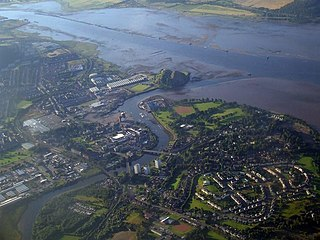 Milton Island former island in the River Clyde, West Dunbartonshire, Scotland