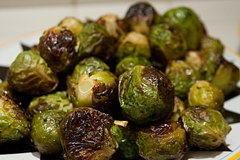 English: Roasted brussels sprouts