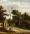 Roelof Jansz. van Vries - Een bosrijk landschap met dorpsbewoners in gesprek met een track.jpg