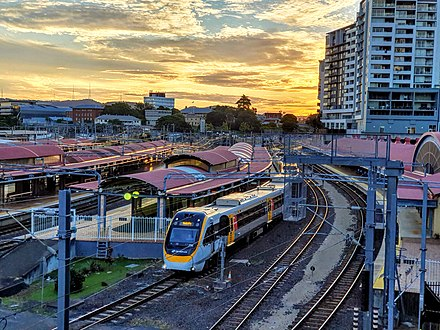 Queensland Rail Suburban Multiple Unit train at Roma Street station Roma Station Brisbane QLD 20190525.jpg