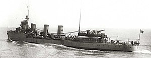 Romanian scout cruiser Mărăști at sea.jpg
