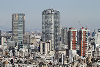 Roppongi - Roppongi Hills' buildings (center and right) and Tokyo Midtown Tower (left)