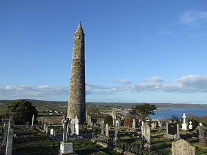 Ardmore, County Waterford - Round tower and ruins of St Declan's Church, Ardmore.