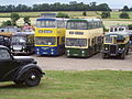 Royal Household staff bus (PYY 28D), Chesterfield Transport buses 124 (NNU 124M), 123 (NNU 123M) & 48 (JRA 635), Midland Railway Centre, Butterley, 9 July 2006.jpg