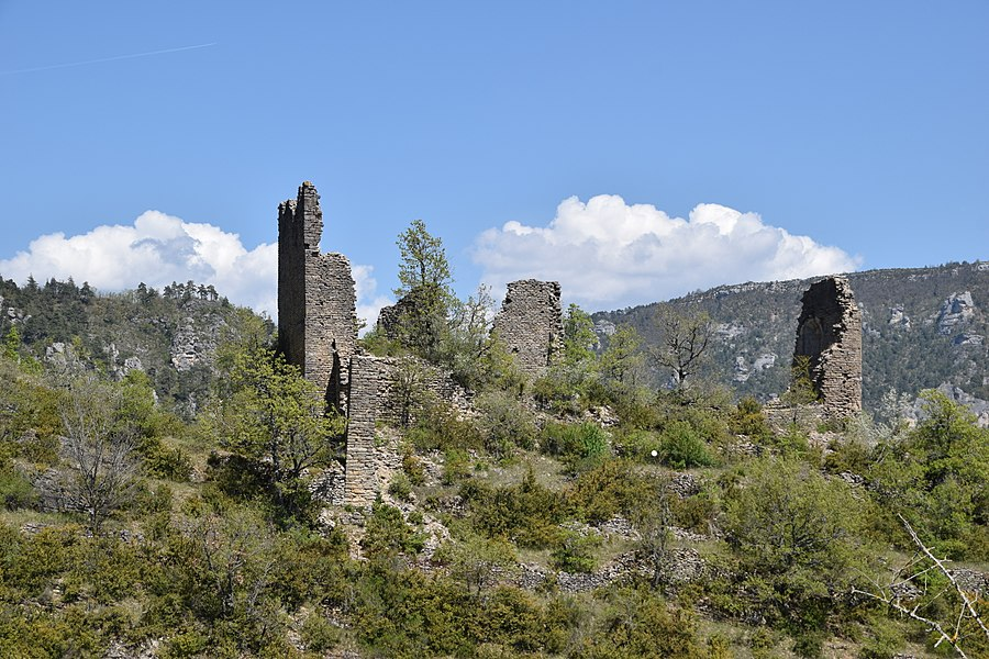 Ruins of castle Dolan in Les Vignes, Lozère, France
