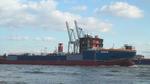 Rumpf des Errichterschiffs Aeolus im Schlepp auf der Elbe, 30-03-2013.png