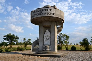 """Heimatvertriebene - Memorial near the former Znaim to the Sudeten expellees of South Moravia (Kreis Znaim). The text translates as """"Homeland rights are human rights."""""""