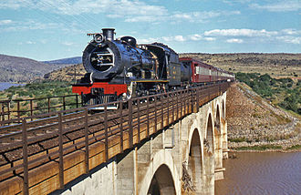 South African Class 12 4-8-2 - No. 1505 crossing the Great Fish River near Nelland, between Cradock and Cookhouse, 22 April 1981