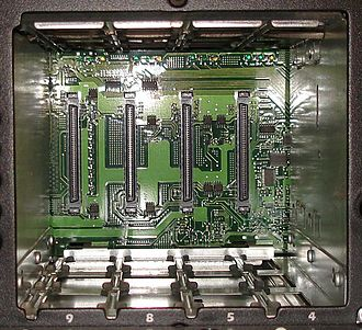 Single Connector Attachment - SCSI backplane with 80-pin SCA connectors. Hard Drives are mounted on proprietary hot-swappable caddies.