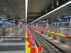 San Francisco International Airport station - A view of the station's boarding platforms. Because BART traffic to and from SFO has not been as high as originally anticipated, the station's center track is rarely used.