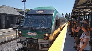 Sonoma–Marin Area Rail Transit - A SMART Nippon Sharyo DMU train pulling into the Downtown Santa Rosa station.