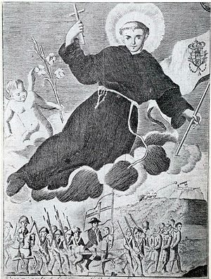 Sanfedismo - Cardinal Fabrizio Ruffo leading the Sanfedisti in 1799, protected by Saint Anthony
