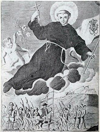 Sanfedismo - Cardinal Fabrizio Ruffo leading the Sanfedisti in 1799, protected by Saint Anthony