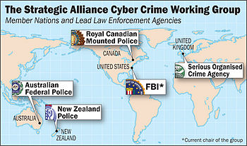 Map showing the Strategic Alliance Cyber Crime...
