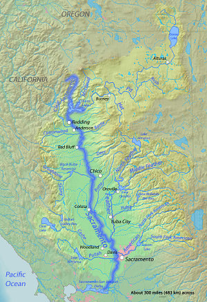 Sacramento Valley - The Sacramento River and its tributaries, marking the extent to the valley.