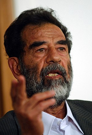Former President of Iraq, Saddam Hussein, make...