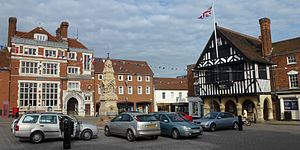 Saffron Walden - The market square in July 2012, with the half-timbered Guildhall