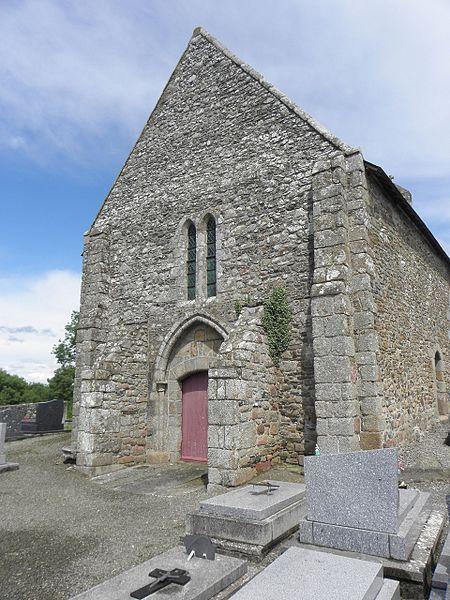 Extérieur de l'église Saint-Georges de Saint-Georges-de-Gréhaigne (35). Façade occidentale.