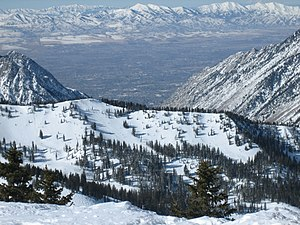West Jordan, Utah - Looking down and westward at the city and the Oquirrh Mountains