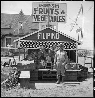 San Lorenzo, California - San Lorenzo, California. Fruit and vegetable stand on highway operated by a Filipino-American.