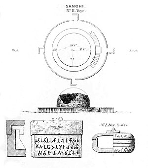 Sanchi Stupa No.2 - Some of the relics found in Stupa Nb 2.