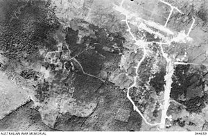 Sandakan camp - Aerial view of the camp in 1944.