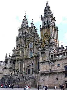 The most impressive display of Churrigueresque spatial decoration may be found in the west façade of the Cathedral of Santiago de Compostela).