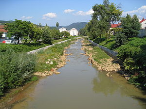 The Săsar River flowing through Baia Mare, Rom...