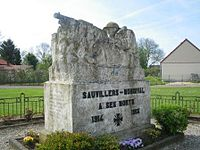 The war memorial at Sauvillers-Mongival