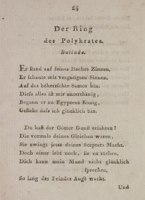 Der Ring des Polykrates (poem) - Abstract of Musen-Almanach für das Jahr 1798, Cotta, 1797