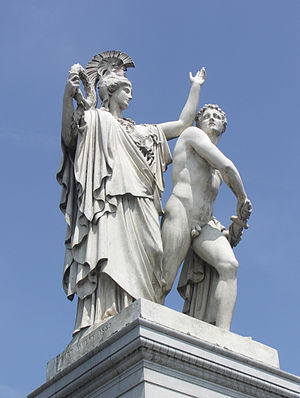 Athena Leads the Young Warrior into the Fight - The sculpture in 2007