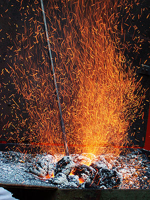 forge, smith's hearth, fire, sparks
