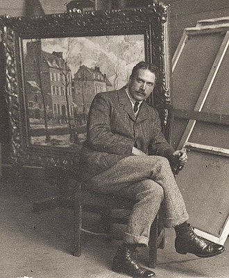 Walter Elmer Schofield - Schofield in his studio at St. Ives, Cornwall, 1907