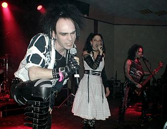 Whitby Goth Weekend - Screaming Banshee Aircrew on stage at Whitby Goth Weekend, April 2005