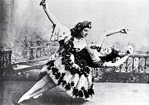 The Seasons (ballet) - Marie Petipa and Pavel Gerdt in the Bacchanale of the scene L'Automne. (St. Petersburg, 1900)