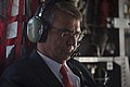 Secretary of Defense Ash Carter listens to radio traffic as he flies to the Air Force Academy.jpg