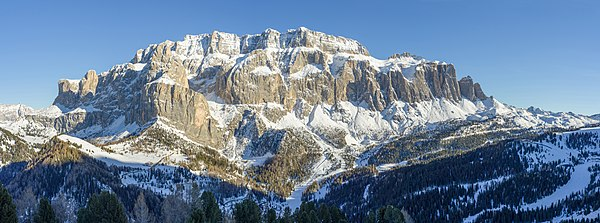 The Sella group in the Dolomites, South Tyrol.