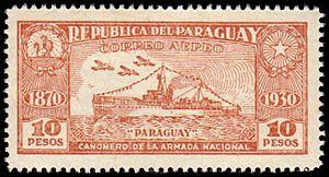 Sello de la Republica de Paraguay-Correo Aereo-Paraguay-Cañonera de la Armada Nacional.jpg