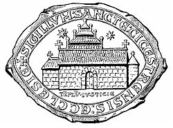 13th century seal with (possibly) a picture of Selsey Cathedral.