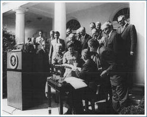 President Lyndon B. Johnson signing the Wilder...