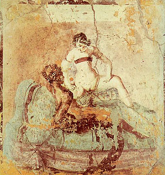 "The ""woman riding"" position was a favorite in Roman art Sexual scene on pompeian mural 5.jpg"
