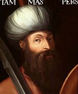 Tahmasp I - Portrait of Shah Tahmasp I by an unknown Italian artist, 16th-17th centuries, Uffizi Gallery, Florence.
