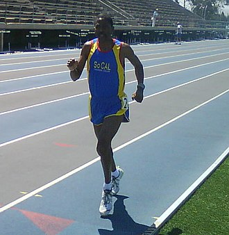 """Nolan Shaheed - Nolan Shaheed while setting the M60 1500 metres in the Southern California Striders """"Meet of Champions"""" at Cerritos College in Norwalk, California"""
