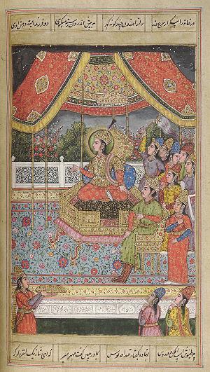 Badshah Begum - Badshah Begum seated on her throne.