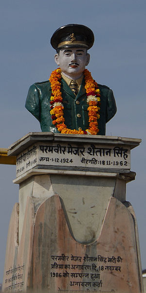 Rezang La - A statue of Major Shaitan Singh in a central square of his native city of Jodhpur, Rajasthan, India
