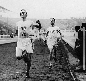 Mel Sheppard - Mel Sheppard narrowly defeating Harold A. Wilson in the 1500 metres race in the 1908 Olympic Games