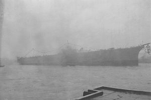 Japanese aircraft carrier Shōkaku - Shōkaku being launched in heavy rain at Yokosuka, 1 June 1939.