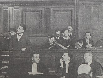 Sholom Schwartzbard - Sholom Schwartzbard speech in the court. Below him, Henri Torres, his attorney. Oct 1927