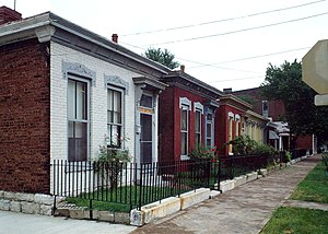 Shotgun house - Shotgun houses spaced tightly together in Louisville, Kentucky. In cities, shotguns were built close together for a variety of reasons.